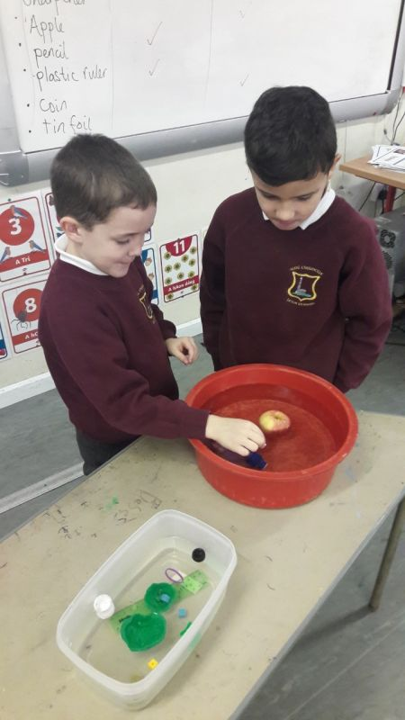 2nd class did a science experiment to see if certain objects sink or float.
